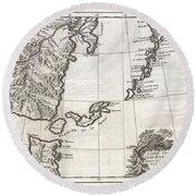 1750 Bellin Map Of The Kuril Islands Round Beach Towel