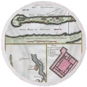 1750 Bellin Map Of The Senegal Round Beach Towel