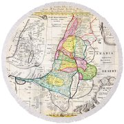 1750 Homann Heirs Map Of Israel Palestine Holy Land 12 Tribes Geographicus Palestina Homannheirs 175 Round Beach Towel