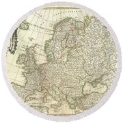 1762 Janvier Map Of Europe  Round Beach Towel