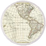 1762 Janvier Map Of North America And South America  Round Beach Towel