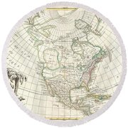 1762 Janvier Map Of North America  Round Beach Towel