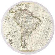 1762 Janvier Map Of South America  Round Beach Towel