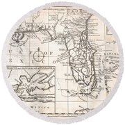 1763 Gibson Map Of East And West Florida Round Beach Towel by Paul Fearn