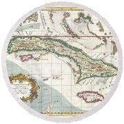 1763 Terreni  Coltellini Map Of Cuba And Jamaica Round Beach Towel