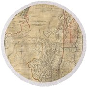 1768 Holland  Jeffreys Map Of New York And New Jersey  Round Beach Towel by Paul Fearn