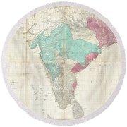 1768 Jeffreys Wall Map Of India And Ceylon Round Beach Towel