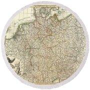 1771 Rizzi Zannoni Map Of Germany And Poland Round Beach Towel