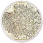 1771 Zannoni Map Of Poland And Lithuania Round Beach Towel
