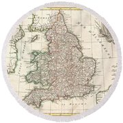 1772 Bonne Map Of England And Wales  Round Beach Towel
