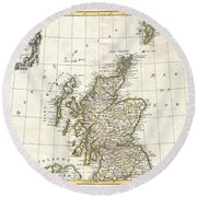 1772 Bonne Map Of Scotland  Round Beach Towel