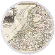 1775 Janvier Map Of Holland And Belgium Round Beach Towel