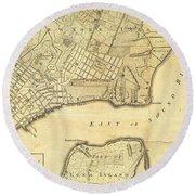 1776 New York City Map Round Beach Towel