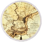 1777 Philadelphia Map Round Beach Towel by Bill Cannon