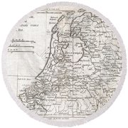 1780 Raynal And Bonne Map Of Holland And Belgium Round Beach Towel