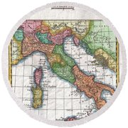 1780 Raynal And Bonne Map Of Italy Round Beach Towel