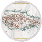 1780 Raynal And Bonne Map Of Jamaica West Indies Round Beach Towel