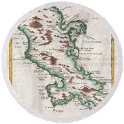 1780 Raynal And Bonne Map Of Martinique West Indies Round Beach Towel