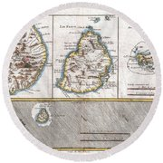 1780 Raynal And Bonne Map Of Mascarene Islands Reunion Mauritius Bourbon Round Beach Towel