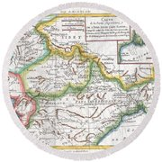 1780 Raynal And Bonne Map Of Northern India Round Beach Towel