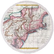 1780 Raynal And Bonne Map Of Northern United States Round Beach Towel