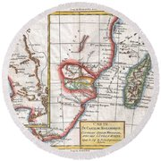 1780 Raynal And Bonne Map Of South Africa Zimbabwe Madagascar And Mozambique Round Beach Towel
