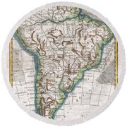 1780 Raynal And Bonne Map Of South America Round Beach Towel