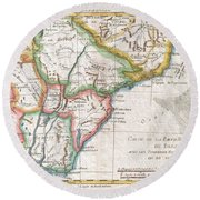 1780 Raynal And Bonne Map Of Southern Brazil Northern Argentina Uruguay And Paraguay Round Beach Towel