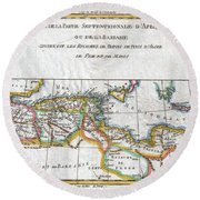 1780 Raynal And Bonne Map Of The Barbary Coast Of Northern Africa Round Beach Towel