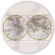 1780 Raynal And Bonne Map Of The Two Hemispheres Round Beach Towel