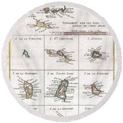 1780 Raynal And Bonne Map Of The Virgin Islands And Antilles West Indies Round Beach Towel