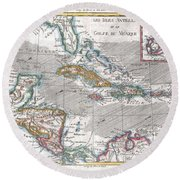 1780 Raynal And Bonne Map Of The West Indies Caribbean And Gulf Of Mexico Round Beach Towel