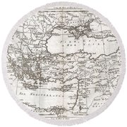 1780 Raynal And Bonne Map Of Turkey In Europe And Asia Round Beach Towel