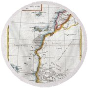 1780 Raynal And Bonne Map Of Western Africa Round Beach Towel