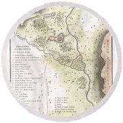 1783 Bocage Map Of The Topography Of Sparta Ancient Greece And Environs Round Beach Towel