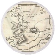 1784 Bocage Map Of Athens Greece Round Beach Towel