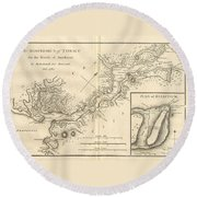 1784 Bocage Map Of The Bosphorus And The City Of Byzantium  Istanbul  Constantinople Round Beach Towel