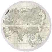 1784 D Anville Wall Map Of Asia Round Beach Towel