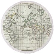 1784 Vaugondy Map Of The World On Mercator Projection Round Beach Towel