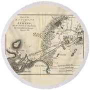 1785 Bocage Map Of Athens And Environs Including Piraeus In Ancient Greece Round Beach Towel