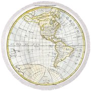 1785 Clouet Map Of North America And South America Round Beach Towel