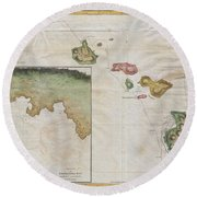 1785 Cook  Bligh Map Of Hawaii  Round Beach Towel