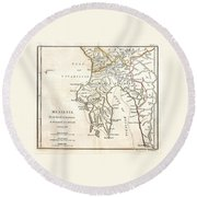 1786 Bocage Map Of Messenia In Ancient Greece Round Beach Towel