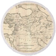 1787 Bonne Map Of The Dispersal Of The Sons Of Noah Round Beach Towel