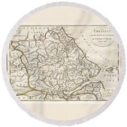 1788 Bocage Map Of Thessaly In Ancient Greece Round Beach Towel