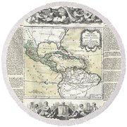 1788 Brion De La Tour Map Of Mexico Central America And The West Indies Round Beach Towel