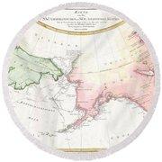 1788 Schraembl Map Of The Northwest Passage Round Beach Towel