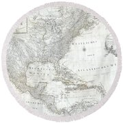 1788 Schraembl  Pownall Map Of North America And The West Indies Round Beach Towel