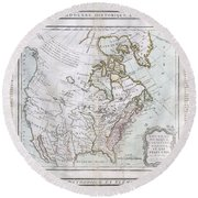1789 Brion De La Tour Map Of North America Round Beach Towel