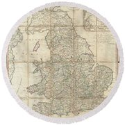 1790 Faden Map Of The Roads Of Great Britain Or England Round Beach Towel